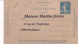 Carte Lettre Semeuse Camée 25 C Lilas Bleu J1a Neuve Repiquage Martin - Letter Cards
