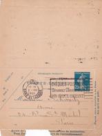 Carte Lettre Semeuse Camée 25 C Lilas Bleu J1 Oblitérée Repiquage D'un Expert Judiciaire - Letter Cards