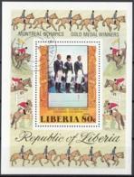 Liberia 1977 Sc. C217 Olimpiadi Montreal Oro Gold Dressage Equitazione Sheet Perf. CTO - Estate 1976: Montreal