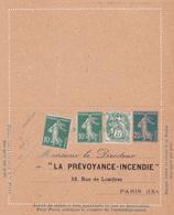 Carte Lettre Semeuse Camée 25 C Lilas Bleu J1 Neuve Repiquage La Prévoyance Incendie - Letter Cards
