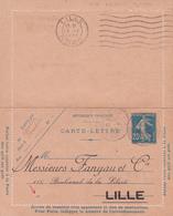Carte Lettre Semeuse Camée 25 C Lilas Bleu J1a Oblitérée Repiquage Fanyau - Letter Cards