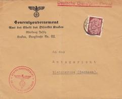 GG: Dienst: Brief Portogerecht Abteilung Justiz Krakau An Amtsgericht Bleicherode - Besetzungen 1938-45
