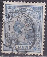 1891 Ambulant Kleinrondstempel ARNHEM-BREDA (1549) Op Prinses Wilhelmina Hangend Haar 5 Cent Blauw NVPH 35 - Poststempel