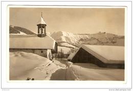 CARTE POSTALE PHOTO MEGEVE LA CHAPELLE DU PLANELLET ET LE MONT BLANC - VOEUX 1929 - 2 Scans - - Fotografía