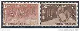 1963 PAKISTAN 174-75** Campagne Contre La Faim, Blé, Riz, Tracteur - Pakistan