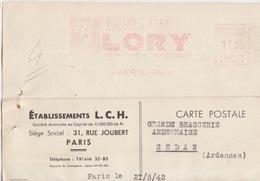 CP Pré-imprimée (Etablissements L.C.H...), EMA 1f20 (C 1801, ...Peintures Lory...) Paris 96 Le 25 Mai 42 - Fabbriche E Imprese