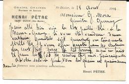"""SAINT-DIZIER Carte Postale Commerciale HENRI PETRE """"Grains, Graines Farines Et Issues"""" - Saint Dizier"""