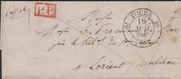 MARQUE POSTALE INDRE ET LOIRE  LETTRE AVEC CACHET TYPE 12 DE TOURS 1842 SUP - Marcophilie (Lettres)