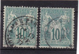 # Z.10859 France Republic1876 - 78 Type I. 2 X Value 10c Used, Yvert 65, Michel 60: Pax & Mercur - 1876-1878 Sage (Tipo I)