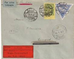 OSTLANDE 1928 PLI AERIEN DE RIGA   1ER VOL RIGA-LENINGRAD 7.6.1928 - Lettland