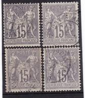 # Z.10860 France Republic1876 - 78 Type I. 4 X Value 15c Used, Yvert 66, Michel 61: Pax & Mercur - 1876-1878 Sage (Tipo I)