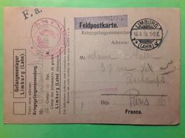 Feldpostkarte Kriegsgefangenen Lager LIMBURG / Lahn Camp Prisonniers De Guerre, 14.4.1916 > Paris - Militares