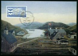Mk Greenland Maximum Card 1992 MiNr 225 | Bicentenary Of Paamiut (Fredrikshaab) - Cartes-Maximum (CM)