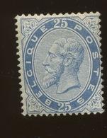 40*  25c * Bleu Gomme Originale. Cote 700,-Euros. Bonne Qualité, Sans Défaut - 1883 Leopold II