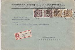 Allemagne - Empire - Lettre Recom De 1923 ° - Oblit Chemnitz - Exp Vers Schweizerthal - - Duitsland
