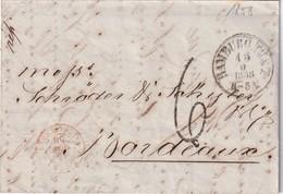 RUSSIE 1858 LETTRE DE RIGA POSTEE A HAMBURG POUR BORDEAUX CACHET D'ENTRE VALENCIENNES - Russia & URSS