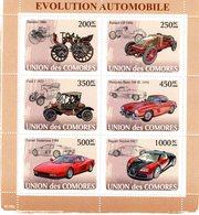 Union Des Comores 2008 - Evolution Automobile - Daimler-Renault-Ford-Mercedes-Ferrari-Bugatti -  6v Sheet Neuf/Mint/MNH - Coches