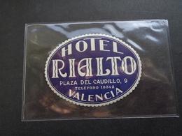 Document ( 2844 )  étiquette D' Hôtel  Etiket  - Reclame  Publicité - Valencia ( Spanje  Spain  Espagne ) - Etiquettes D'hotels