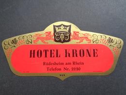 Document ( 2853 )  étiquette D' Hôtel  Etiket  - Reclame  Publicité -   Rüdesheim - Etiquettes D'hotels