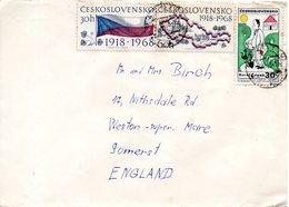 TCHECOSLOVAQUIE. N°1667-8 De 1968 Sur Enveloppe Ayant Circulé. Drapeau Et Carte Du Pays. - Briefe