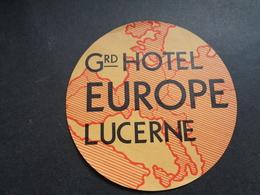 Document ( 2861 )  étiquette D' Hôtel  Etiket  - Reclame  Publicité -   Lucerne  Lüzern - Etiquettes D'hotels