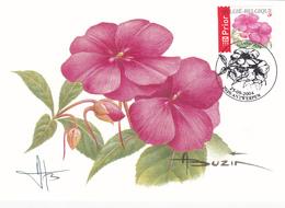 Carte Maximum BUZIN -  Fleur: Impatiens - FDC - Timbre N°3318 - 2004 - Signée Par Buzin - 1985-.. Birds (Buzin)