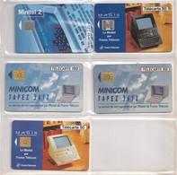 5 Télécartes Publiques France. Minitel 1 Et 2. MAGIS. Minicom. Illustrées. Toutes Différentes. Etat Moyen. - Telecom Operators