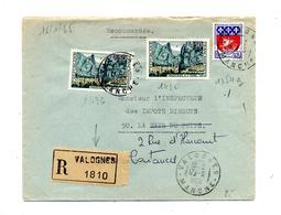 Lettre Recommandée Valognes Sur Moustiers - Storia Postale