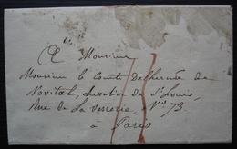 1825 Lettre Du Vicomte Du Bouchage Au Comte Delherm De Novital - Marcofilia (sobres)