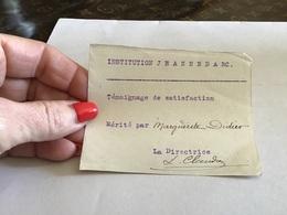 Institution Jeanne D'Arc Remiremont Vosges Témoignage De Satisfaction La Directrice - Visiting Cards