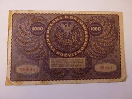 1 BILLET POLONAIS DE 1000 MAREK, N° 911,344, II SERJA AA, VOIR SCAN RECTO-VERSO DE 1919 - Polonia