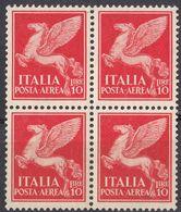 ITALIA - Quartina Nuova MNH Di Yvert 17 Posta Aerea, Come Da Immagine. - 1900-44 Victor Emmanuel III.