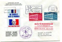 Thème Général De Gaulle - Griffe Référendum Du 27 Avril 1969 + Vignette  - R 5770 - De Gaulle (Generaal)