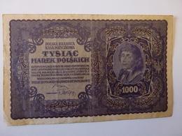 1 BILLET POLONAIS DE 1000 MAREK, N° 341769, I SERJA C, VOIR SCAN RECTO-VERSO DE 1919 - Polonia