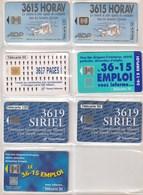 5 Télécartes Publiques France. Numéros Et Services Minitel  Illustrées. Toutes Différentes. Etat Moyen. - Telecom Operators