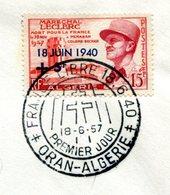Thème Général De Gaulle - Algérie Yvert 345 - Anniversaire Du 18 Juin 1940 - PJ  - R 5776 - De Gaulle (Generale)