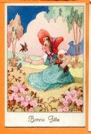 FEL1277, Bonne Fête, Petite Fille Avec Un Chapeau Rouge, Oiseau, Bird, Circulée Sous Enveloppe - Fêtes - Voeux