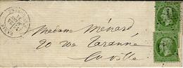 1871-- Lettre De PARIS / R. St HONORE Affr. N°20 X 2 Oblit. étoile 11 - Postmark Collection (Covers)