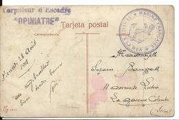 Marine Militaire Guerre 14 18 Griffe Violette TORPILLEUR D'ESCADRE OPINIATRE + Cachet Marine Française 1918   ..G - Postmark Collection (Covers)