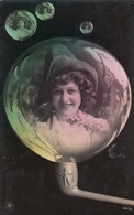 LADY IN A SOAP BUBBLE 1906 REAL PHOTO POSTCARD SURREALISME PHOTO MONTAGE - Fotografía
