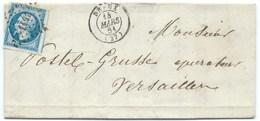 N°14 BLEU NAPOLEON SUR LETTRE / DREUX POUR VERSAILLES / 14 MARS 1861 - 1849-1876: Classic Period