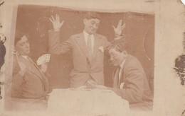GAME OF CARDS SAME MAN 3 VIEWS  REAL PHOTO POSTCARD SURREALISME PHOTO MONTAGE - Fotografía