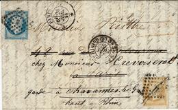 1858- Lettre De Paris Bureau C De Paris Pour Paris Puis Réexpédition à Chavannes ( Haut-Rhin ) - 1849-1876: Klassieke Periode