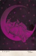 Woman W Child On Paper Moon Vintage Postcard Photo Montage Surrealisme - Fotografía