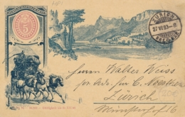 Schweiz - 1893 - 5c Postkarte - Local Use Zürich - Stamped Stationery