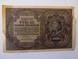 1 BILLET POLONAIS DE 1000 MAREK, N° 368237, III SERJA G, VOIR SCAN RECTO-VERSO DE 1919 - Polonia
