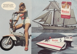 Advertising Postcard Winston Cigarette Sailing Yacht Motorcycle Scooter Pin Up - Pubblicitari