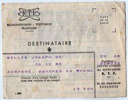 VP16.269 - TOULOUSE 1963 / 64 -Radiodiffusion - Télévision Française - Lette Du Centre Annexe Des Redevances R.T.F. - Television