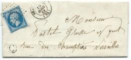 N°14 BLEU NAPOLEON SUR LETTRE / RAMBOUILLET POUR VERSAILLES / 10 AVRIL 1861 / BOITE RURALE C ORPHIN - 1849-1876: Klassik