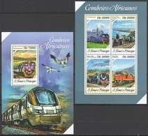ST1721 2013 S. TOME E PRINCIPE TRAINS COMBOIOS AFRICANOS KB+BL MNH - Trenes